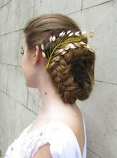 Gold Leaf Hair Vine Headdress Bridal Hair Clip Grecian Headband Vintage Deco 3AD