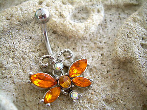 14g Belly Button Navel Ring MB 27 Lavender PINK Fancy CZ Butterfly Dangle Style