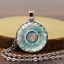 Vintage Cabochon Tibetan silver Round Glass Pendant Chain Necklace Jewelry Gift