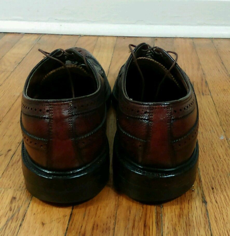 Vintage Leather Wing Tip Tip Tip Oxford Dress schuhe five 5 Nail 9.5 B Florsheim Imperial 39bf1c