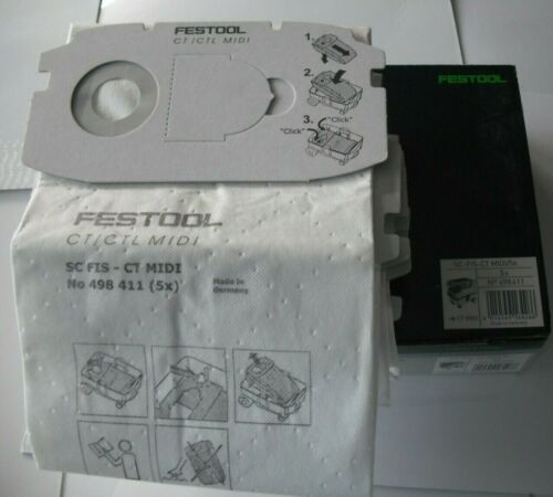 498411 Festool Auto Clean Filtre Sacs-SC FIS-CT MIDI//5x