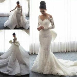 Lace Long Sleeve Mermaid Wedding Dress Detachable Overskirt Bridal Gown Bride Ebay,Burgundy Winter Wedding Bridesmaid Dresses