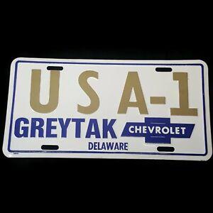 Usa 1 Chevrolet License Plate Greytak Delaware 1960 S Dealer Tag Nice Dealership Ebay