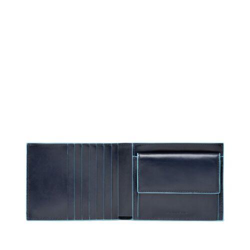 """Portafoglio uomo in pelle con tasca per monete Piquadro /""""Blue square Blu"""