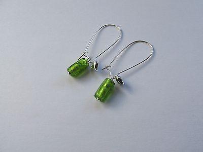 Lime Green /& Silver Mixed Bead Beady Earrings * Handmade Long Dangle Drop