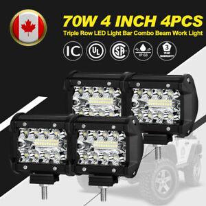 4Pcs 4 Inch LED Work Light Triple Row Spot Flood Beam Offroad Driving Lights