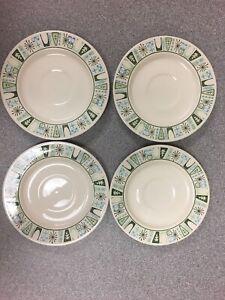 SET OF 4 MCM Taylor Smith Taylor Taylorstone Cathay Atomic Starburst Tea Plates