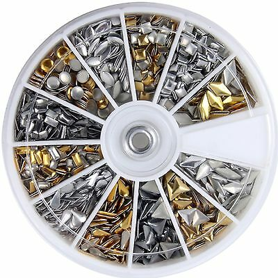 600X 3D Design Nail Art Metallic Studs Gold & Silver Stud Wheel Manicure T1