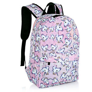 6808afe90e Image is loading Pink-Girls-Women-Unicorn-Backpack-Rucksack-School-Travel-
