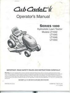 Array - details about cub cadet operators manual series 1000 lt1042 lt1050    rh   ebay com