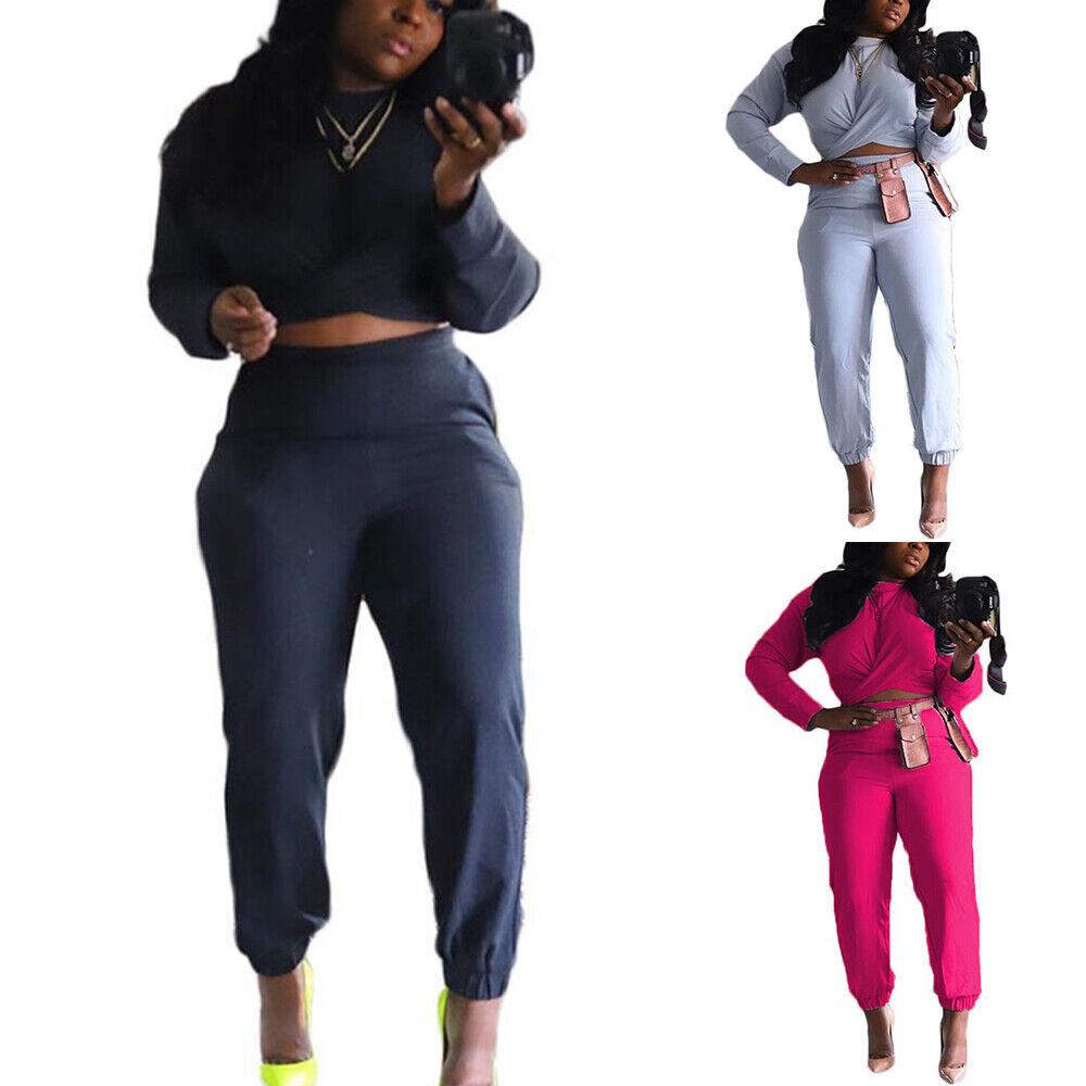 Damen Langarm Crop Tops + Hose Outfits Trainingsanzug Sportanzug Jogginganzug'