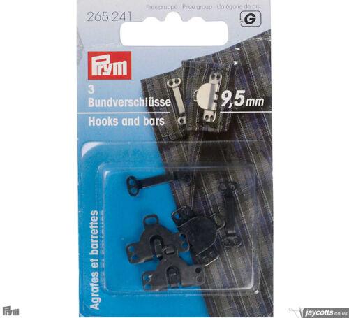 GANCI PER PANTALONI da Cucire 3 Pezzi Neri 9,5mm Prym 265241