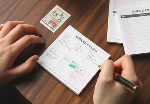 Mini Desk Weekly Plan Home Office  Journal Schedule Planner Memo Note Paper #UK