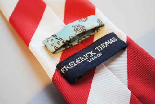 Frederick Thomas red and white barber stripe mens tie FT643
