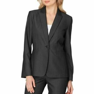 Tahari by ASL Women's Blazer Gray Size 14 Single-Button Notched $128 #588