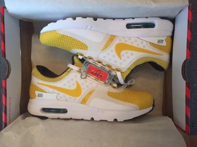 Nike AIR MAX ZERO QS NUOVO Bianco/Giallo UK8/US9/EU42.5 NUOVO QS CON SCATOLA 789695-100 0892a0