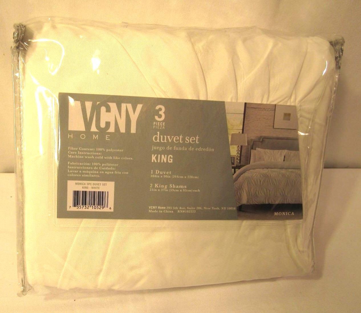 VCNY Home Marchella 3-piece Duvet Cover Set, KING White - SALE