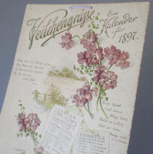 Antique VICTORIAN 6-Page Die-Cut German CALENDAR for 1897 * Chromos VIOLETS