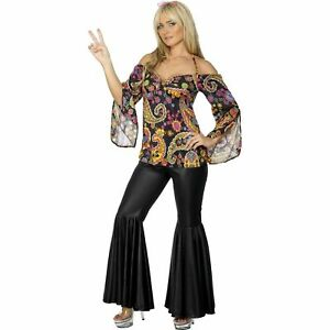 Hippie-Costume-1960-039-s-Groovy-Disco-Flower-Power-Women-039-s-Fancy-Dress-Costume
