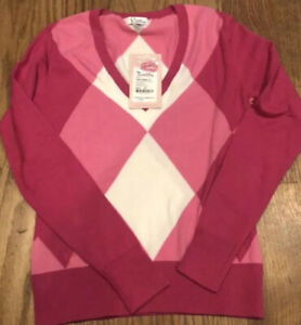 NWT-Lilly-Pulitzer-Provincetown-Letterman-Pink-Argyle-V-Neck-Sweater-Size-XS