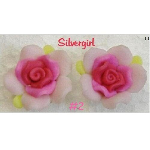 Large Polymer Clay Ruffle Rose Stud Earrings Lots Color Variations