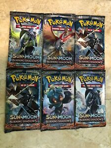 FACTORY SEALED UNWEIGHED!SEE NOTES 4X Pokémon BURNING SHADOWS Sleeved Boosters