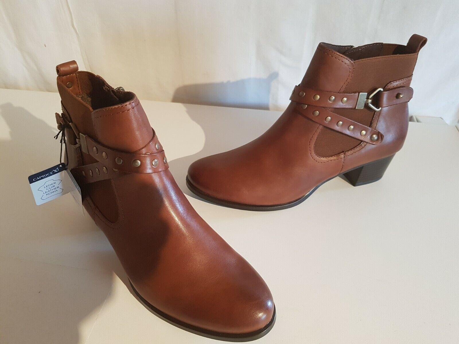 Caprice 9-25322-21 señora botines de cuero Color cognac tamaño 40,5-41 nuevo