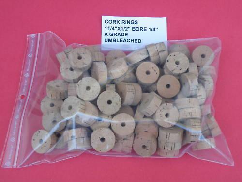 "50 CORK RINGS 1 1//4/""X1//2/""  BORE 1//4/"" GRADE A+"
