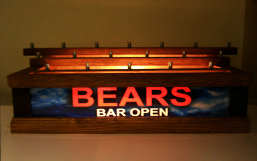 ** BEARS ** LIGHTED 18 BEER Tap handle display BAR OPEN SIGN