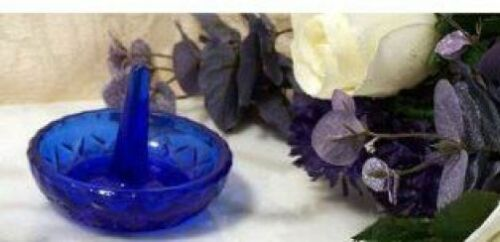 Cobalt Blue Glass Vintage Depression Style Ring Holder Sombrero New