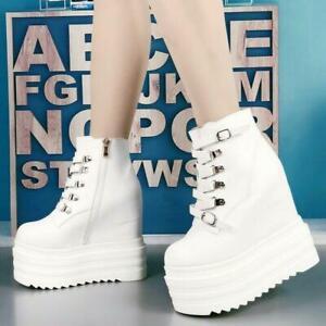 Womens Super High Platform Hidden Wedge Heel Buckles Metal Ankle Boots Punk Goth