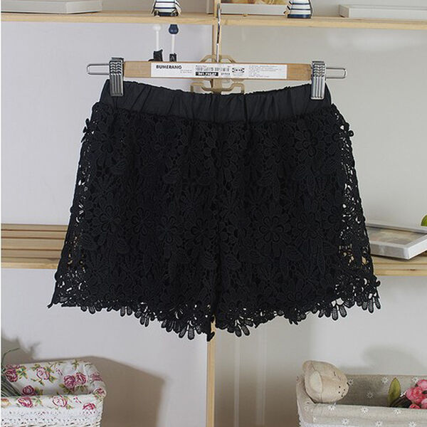 S-2XL Zanzea Women Shorts Elastic High Waist Lace Plus Size Shorts Fashion Pants
