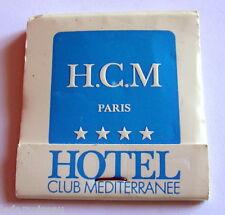 Pochette d'allumettes Hôtel Club Méditerrannée. H.C.M Paris.