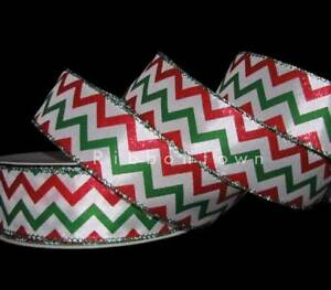 "7//8/"" Christmas Chevron Stripe Burlap Ribbon 9 feet"