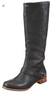 UGG-AUSTRALIA-CHANNING-BLACK-LEATHER-KNEE-HIGH-BIKER-BOOTS-UK-3-5-USA-5-EUR-35