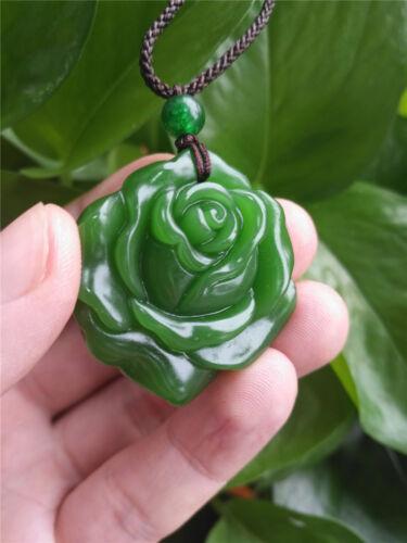 Fashion Vert naturel jade rose collier pendentif sculpté Lucky Amulet Hot