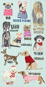 HOT DOGS PUG, BULLDOG, YORKIE, LAB, WESTIE,ETC PAPER BUFFET NAPKINS GUEST TOWEL