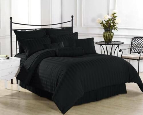 1000 TC Egyptian Cotton 4 Pc Bed Sheet  Set Solid//Striped All Colors US Sizes