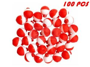 25-50-100-PACK-1-034-Fishing-Bobbers-RED-amp-WHITE-Snap-On-Round-Floats-Wholesale