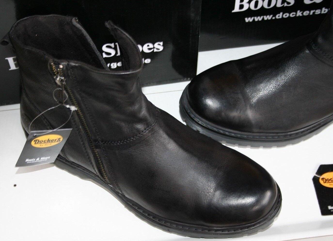 DOCKERS SLIPPER    CHELSEA Neu  black  echtes  Büffel- Leder   Gr 44