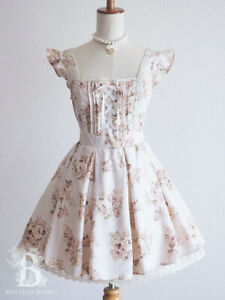 LIZ-LISA-Apron-Lace-up-JSK-Jumper-Dress-Floral-LARME-Hime-Lolita-Japan-M-F065