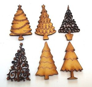 10x-WOODEN-CHRISTMAS-TREE-SHAPES-craft-embellishment-scrapbook-card-seasonal