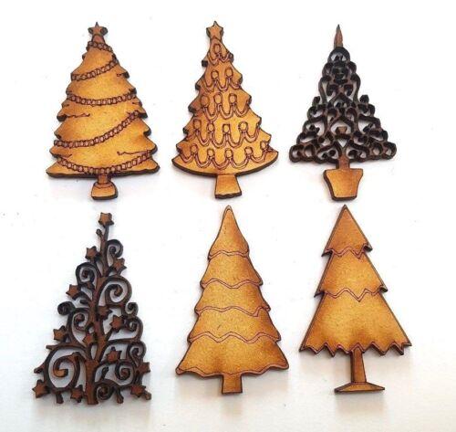 10x WOODEN CHRISTMAS TREE SHAPES craft embellishment scrapbook card seasonal