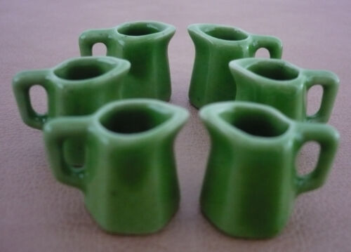 6 Mini Green 6 Sided Pitcher Dollhouse Miniatures Food Deco Kitchenware