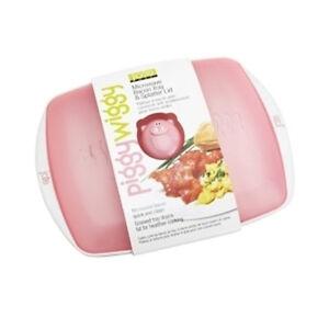 Piggy-Wiggy-Microwave-Bacon-Cooker-Splatter-Tray-w-Lid-Oink-Oink-Pig-Joie