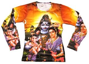 Shiva-Parvati-GANESHA-Hindu-DEI-RELIGIONE-DJ-TATTOO-Designer-maniche-lunghe-S
