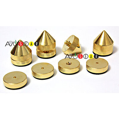 Audio Video Solid Brass Isolation Cones/Spike Feet Cones 4 Sets NEW