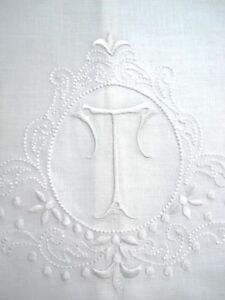 Large-White-Linen-Guest-Bathroom-Hand-Towel-Monogrammed-T-Hemstitched-Whites