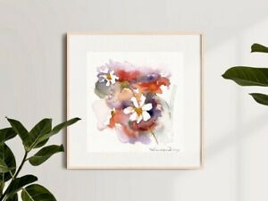 Original Art Contemporary Watercolour Painting of Wild Flowers Signed 20x20cm