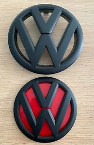 VW-GRILLE-Front-amp-Rear-Matte-Black-Red-Badge-for-VOLKSWAGEN-GOLF-6-MK6-GTI-R-TDI